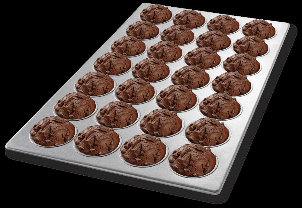 chocolate chip muffins in an american pan custom baking pan