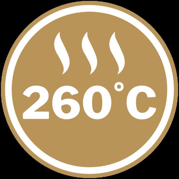 Maximum heat rating of 260 °C
