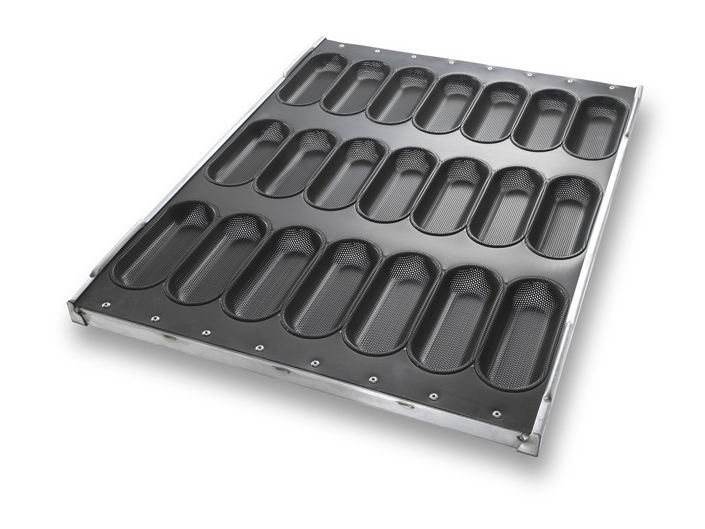 Sandwich Bun Pan with Perforated Moulds in Stackable Frame – DuraShield® Coating